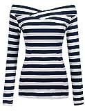 Zeagoo Damen Gestreiftes Shirt Schulterfrei Kurzarmshirt Off Shoulder Oberteil T-Shirt Streifen Tops (Blau_2, EU 42/ XL)