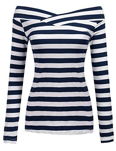 Zeagoo Damen Schulterfrei Langarmshirt Gestreiftes Shirt off Schulter Obertail T-Shirt Tops (EU 38/ M, Blau)
