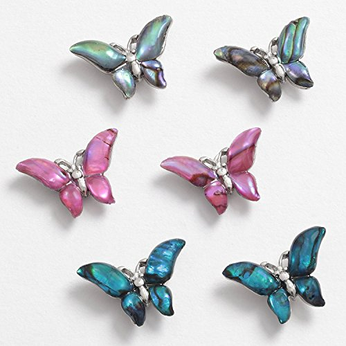 Inlaid Paua Shell Butterfly Stud Earrings ~ 3 Colours ~ One Card Of Two Earri... Butterfly Shell