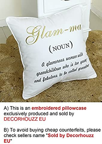 DecorHouzz EU Nana,Glamma,Mimi cushion cover,Grandma pillowcase,Grandmother Pillow cover,Embroidered decorative cushion,Mothers
