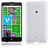 JAMMYLIZARD | Back Cover Hülle für Nokia Lumia 625 Schutzhülle aus Silikon in Gebürstetes Aluminium Optik, WEIß