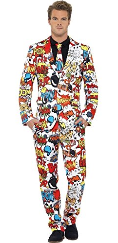 Herren Comic Strip Stand Out Suit Superheld Hirsch Do Fancy Kleid Kostüm Outfit M-XL