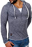 Carisma Herren 2in1 double Look Longsleeve langarm T-Shirt mit Kapuze slimfit Kontrast Optik meliert , Grösse:M;Farbe:Dunkelblau