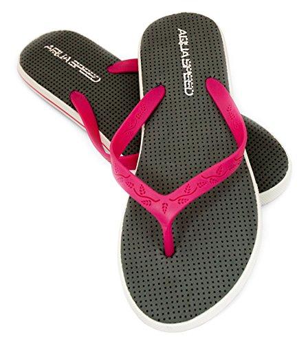 Aqua-speed® Loma Femme Tongs | Adultes | Chaussures De Plage | Sandales | Patins De Piscine | 36-41 Gris / Rose