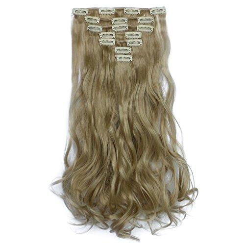 """Extensiones de Cabello,Kapmore 20"""" 7 Piezas 16 Clips Hair Extensions Clip en cabello lleno ondulado Extensiones de pelo rizado (Ash blonde mix bleach blonde)"""