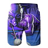 Purple Alien Plays Billiards Pattern Men's/Boys Casual Quick-Drying Bath Suits Elastic Waist Beach Pants with Pockets