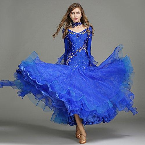 ZTXY Moderne Dame Große Pendel Handgestickten Tango Und Walzer Tanz Kleid Tanzwettbewerb Rock Lange Ärmel Strass-Tanz-Kostüm,Blue,M