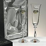 Set/Estuche de 2 copas de champán para novios, bodas de plata/oro, aniversarios, colección...