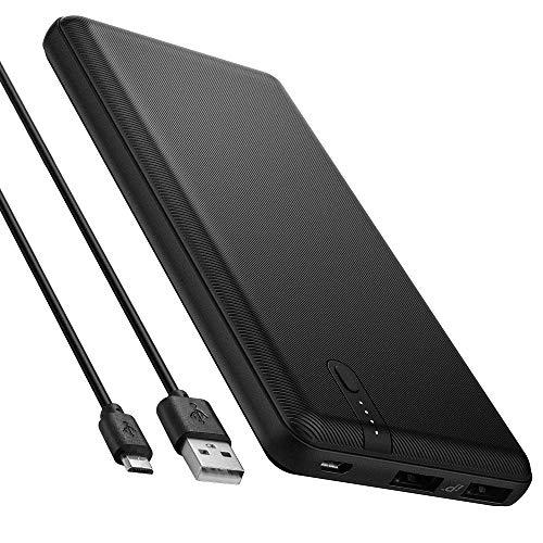 Spigen 10000mAh Powerbank Handy Ultra Dünn IP Tech Anti-Rutsch-Muster Dual Port 2 USB 5V 2.4A für iPhone, Galaxy, Huawei, Pixel