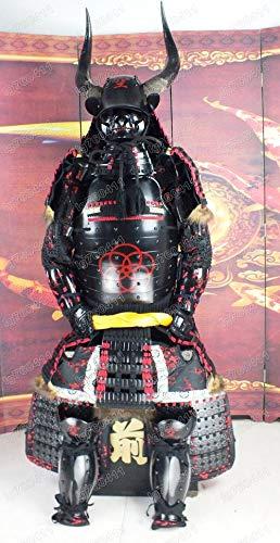 Kostüm Samurai Rüstung - Armorj缘甲 Tragbarer japanischer Rüstungsanzug Rüstung Samurai Horn Black Red Mask Helm O04