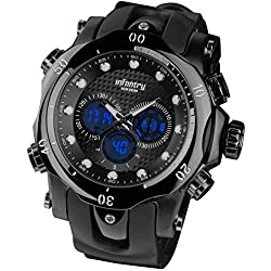 INFANTRY® Mens Analogue - Digital Wrist Watch Chronograph Dual Time Sport Multi function Black Rubber Strap