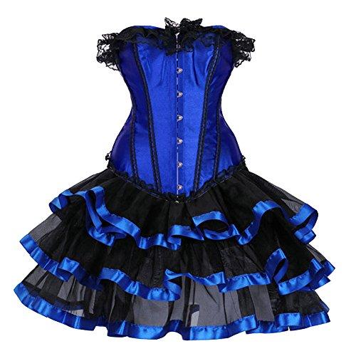 ZAMME Frauen Halloween Tänzer DressOverbust Bustier Gothic Korsett Kleid Korsett mit (Halloween Kostüme Fette Frauen Für)