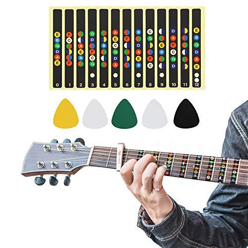 BUZIFU Notas de Guitarra Pegatinas Etiquetas Accesorios de Guitarra con 5 Púas, Idear para Todas las 6 Cuerdas Guitarra Acústica...