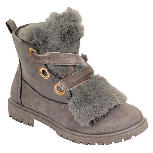 femmes Gris LOOK cuir Fourrue lacet bas talon FEMMES hiver cheville chaussures am6861 duveteux BOTTES suédé r4rTZq
