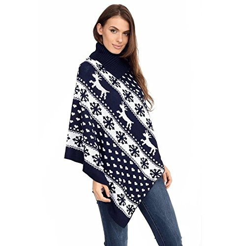Gugu Fashion - Poncho -  donna Navy Reindeer Snow Flake
