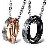 """Cupimatch – 1 Paar passende Halsketten aus Edelstahl, mit Schriftzug """"I Will Always Be with You"""", ineinander greifende Ringe als Anhänger & Kette"""
