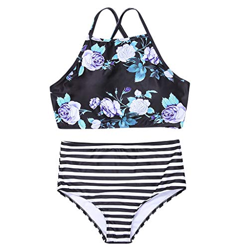 CICIYONER ❤️❤Damen Bikini Set Frauen hohe Taille Bikinis Bademode Badeanzug weibliche Retro Beachwear (L, Schwarz)