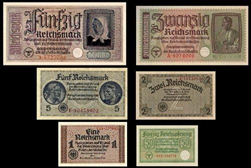 Preisvergleich Produktbild *** 0,5, 1, 2, 5, 20, 50 Reichsmark, Reichskreditkasse, 1939 - 1945 - Reproduktion ***