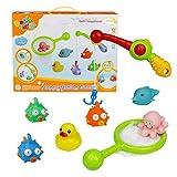 Badewannenspielzeug Bad Angeln Spielzeug mit Schwimmenden Fisch Badespaß Zeit Großes Geschenk für Frühe
