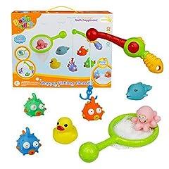Idea Regalo - Bagno Giocattolo Galleggiante con Giochi Rete da Pesca 8 Pezzi Set per i Bambini (Il Colore Può Variare)