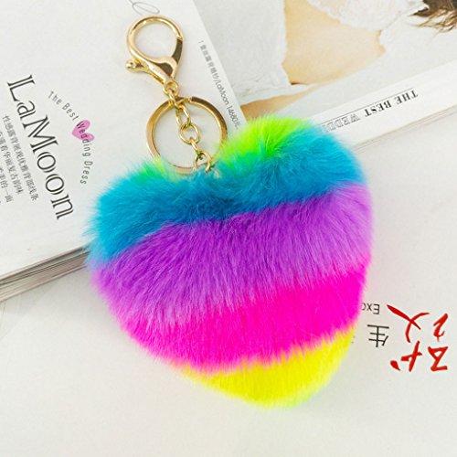 Senoow Neuheit Rainbow Herz Keychain Schlüsselanhänger Tasche Hang Plüschtier Anhänger Pop Pom Schlüsselanhänger (Herz Modelleisenbahnen)