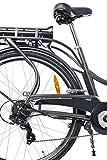 Teutoburg E-Bike, Elektrofahrrad mit HiTen Stahlrahmen in Anthrazit mit 6-Gang Shimano Kettenschaltung - Pedelec Citybike leicht, 250W & 8,8Ah / 36V Lithium-Ionen-Akku, 28 Zoll, 282686 -