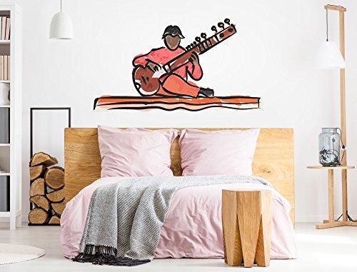 I-love-Wandtattoo WAS-12137 Wohnzimmer Wandtattoo Indien ''Mann und Musikinstrument'' Design Motiv zum Kleben Sitar Sitarji Zupfinstrument Hindustani-Musik Wandaufkleber Musik Schlafzimmer Aufkleber XXL Rhythmen India