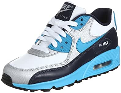 Nike - Chaussures Air Max 90 Junior - Multicolore - Mehrfarbig (White/Vivid Blue-Obsidian