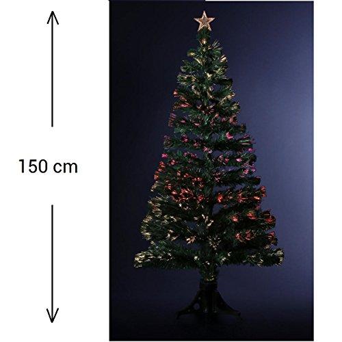 DECORAZIONE NATALIZIA - Albero di Natale artificiale luminoso in fibra ottica + 170 cristalli di ghiaccio a variazione di luce - Consegnato col piede di base - Altezza 150 cm - Colore: VERDE