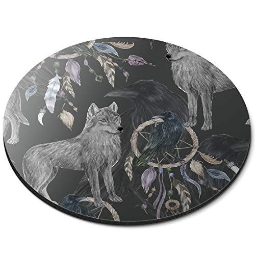 Alfombrilla Redonda para ratón, diseño de Lobo atrapasueños