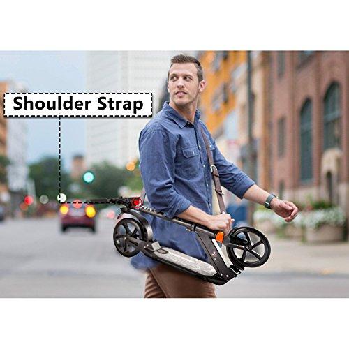 Ancheer Erwachsene City Roller Scooter mit der Bremse und Doppelfederung | 2 Big Wheels Höhenverstellbar Extragroß klappbar tragbar Cityroller Tretroller für Jugendliche und Kinder ab 12 Jahre Schwarz