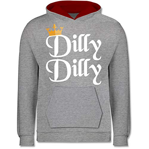 lly Dilly - St. Patricks Day - 12-13 Jahre (152) - Grau meliert/Rot - JH003K - Kinder Kontrast Hoodie ()