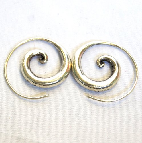 BEAUTIFUL HANDMADE SPIRAL EARRINGS PURE SILVER By THAI KAREN HILLTRIBE