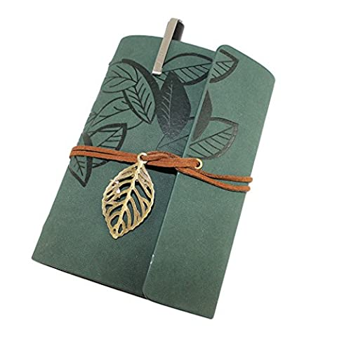 Retro Vintage Leaves Bound Notebook Journal Loseblatt Blank Tagebuch-Notizbuch mit einem Gelstift - Armee-grün