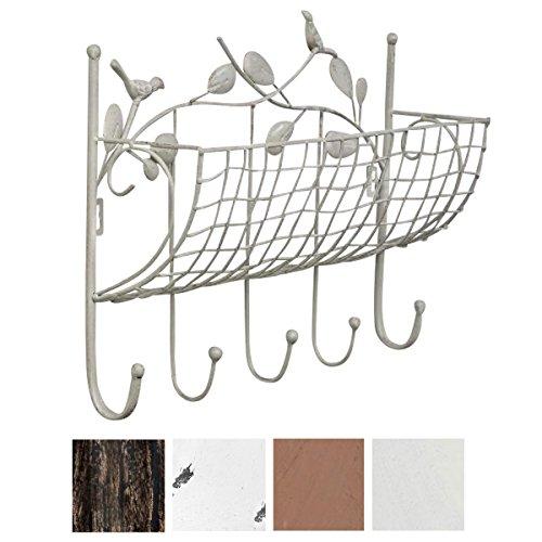 CLP Eisen-Garderobe LORCA im Landhausstil | Geschmiedete Wandgarderobe mit Ablagekorb und 5 Kleiderhaken | in verschiedenen Farben erhältlich Antik Weiß