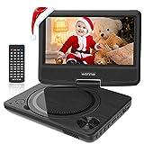 WONNIE 9.5' Lecteur DVD Portable avec écran Rotatif de 7,5' à 270°, Carte SD et Prise USB avec Charge directe Formats/RMVB / AVI / MP3 / JPEG, Parfait pour Enfants (Noir)