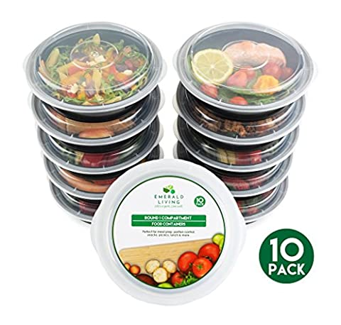 [10 pack] Round BPA Free Meal Prep Containers. Reusable Plastic Food Containers with Lids. Stackable, Microwavable, Freezer & Dishwasher Safe Bento Lunch Box Set + EBook [680