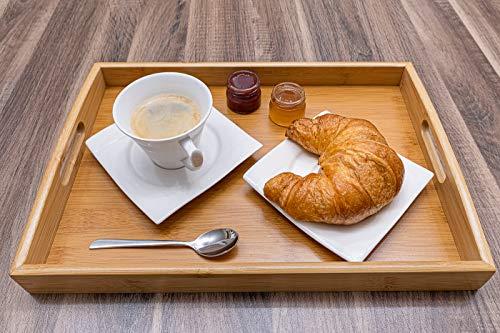 Momex Serviertablett aus Bambus, Holztablett mit Griffen rechteckig zum servieren von Kaffee, Tee, Frühstück