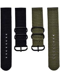 2 Piezas de 22 mm Reemplazo de Nylon Correa de Reloj Nylon Mira Bandas, Ejército Verde y Negro