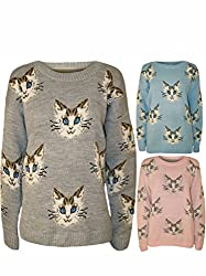 Ladies Multi Cat/ Pug Dog Face Print Crew Neck Long Sleeve Knitted Jumper sweater Top.