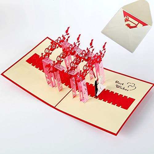 3d pop-up anniversario matrimonio card per moglie madre,carta di san valentino per la fidanzata,biglietto auguri matrimonio per bride and groom