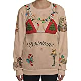 Christmas Pullover Bluse Tops Damen Weihnachten Katze Drucken Rundkragen Langarm Sweatshirt Cute Hemd Mantel Weihnachtspullover Fashion Pulli Warme Elegante T-Shirt von Innerternet