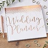Ginger Ray Hochzeitsplaner-Buch, weiß, mit rotgoldener Folierung, 46 Seiten, aus der Beautiful-Botanics-Reihe.