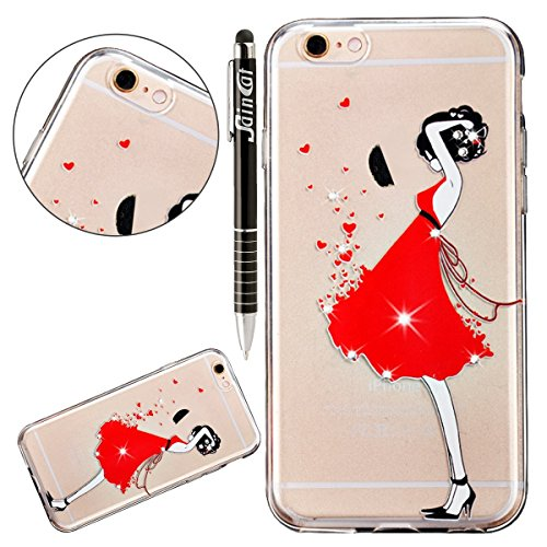 SainCat Coque Housse pour Apple iPhone 6s Plus,Transparent Coque Silicone Etui Housse,iPhone 6 Plus Silicone Case Soft Gel Cover Anti-Scratch Transparent Case TPU Cover,Fonction Support Protection Com Fille robe rouge