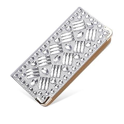 Sotica Women's Evening Clutch Party Bag Handbag Phone Bag Purse (silver-rectangle diamond)