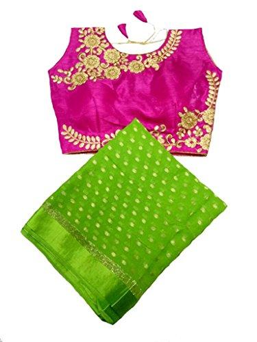 Balaji Fashion Women's fancy blouse MUMAL GEORGETT fabric SAREE d.no 9054
