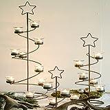 Metallstand STAR - Braun / Shabby - Teelichthalter - Weihnachtsbaum - Tannenbaum - Stern - Spirale (30 cm)