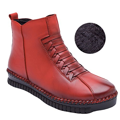 Vogstyle Damen Leisure Retro Stiefel Weiches Leder Leisure retro Stiefeletten Style 2-Red