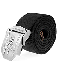4ead04d3743 Ayliss Men s Canvas Web Belt Danger Skull Stainless Steel Buckle Military  Waistband (Black  2