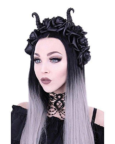 Gothic Maleficent Kopfschmuck Haarschmuck Haarband Harrreif - schwarze Rosen und (Maleficent'kopfschmuck)